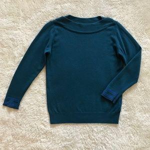 Benetton Blue Wool Pullover Sweater Folded Neck S